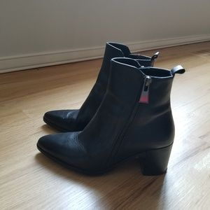 Zara Black Zip Up Boots Size EU 37